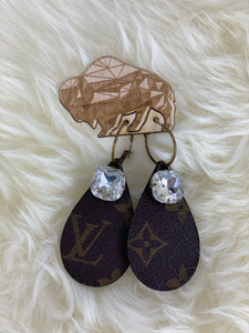 Upcycled Louis Vuitton Tear Drop Sparkle Hoop Earring