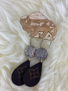 Upcycled Louis Vuitton Buffalo Nickel Hoop Earrings