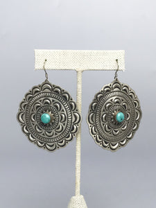 Turquoise and Silver Dangle earring