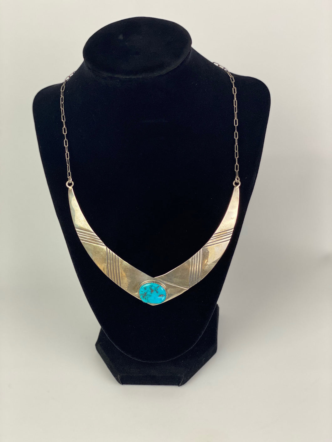 Vintage Bib Turquoise and Sterling Necklace-P2005N