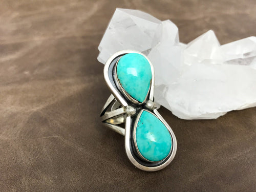 Turquoise Double Teardrop ring
