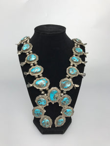 Vintage Turquoise Squash Blossom Necklace-P1942N