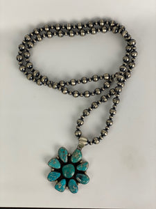 Sterling and Turquoise Cluster Pendant-SS1905P