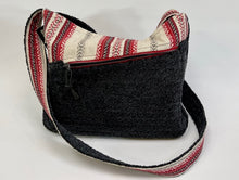 Load image into Gallery viewer, Lazy J Studio Black Chenille and Print  Upcycled Purse