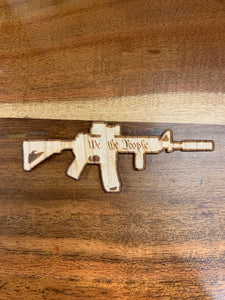Small AR-15 3D Laser Cut Wood Sticker