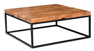 Square Coffee Table with Metal Base