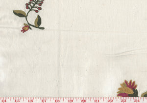 Crewel Embroidered Floral CL Multi on Ivory Embroidered Drapery Fabric by Roth Fabric