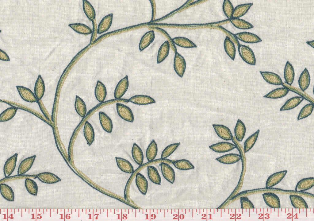 Embroidered Winding Leaves CL Green Yellow Blue Drapery Fabric by Roth Fabric