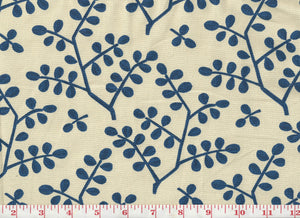 Leafy Branch CL Navy on Natural Drapery Upholstery Fabric by Laura & Kiran