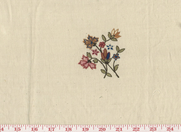Crewel Scattered Floral Sprigs CL Multi on Beige Embroidered Drapery Fabric by Roth Fabric