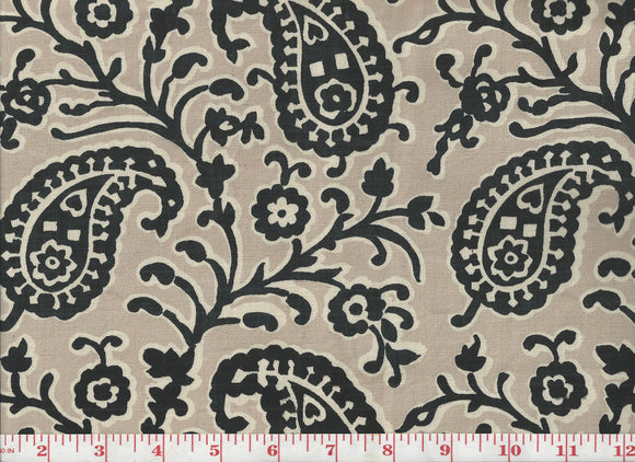 Bold Paisley Handprint CL Black - Tan Drapery Upholstery Fabric by Laura & Kiran