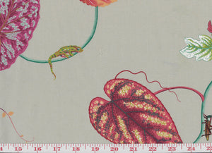 Creeping Vine CL Mushroom Drapery Fabric by P Kaufmann