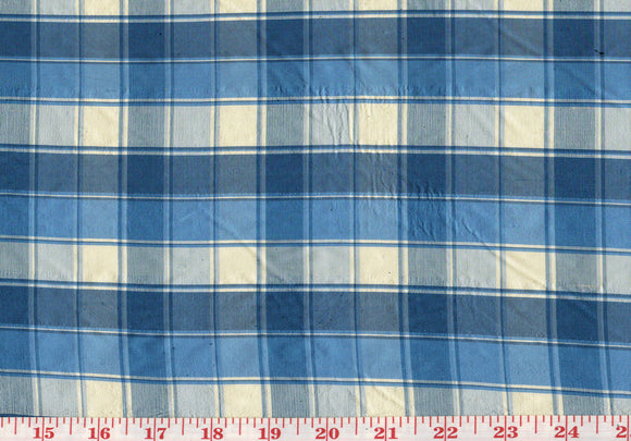 Small Silk Check CL Sapphire Blue Drapery Upholstery Fabric