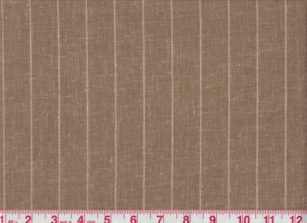 Linet Stripe CL Nutmeg Sheer Drapery Fabric by P Kaufmann