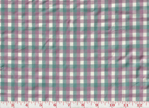 Annis Check CL Aqua Violette Silk Drapery Upholstery Fabric by Hill Brown