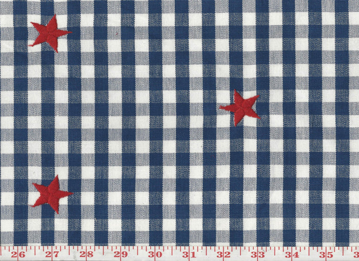 Check with Star CL Red - White - Blue Upholstery Fabric by Roth & Tompkins