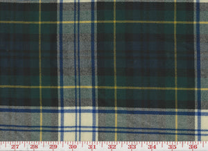 Tartan Plaid CL Blue Yellow Green Wool Upholstery Fabric by Roth & Tompkins