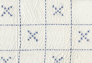 Checkerboard Embroidered X's CL Indigo  Drapery Fabric by Roth Fabric