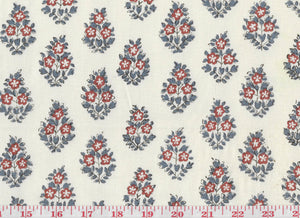 Oui CL Rouge - French Blue Drapery Fabric by Hill Brown