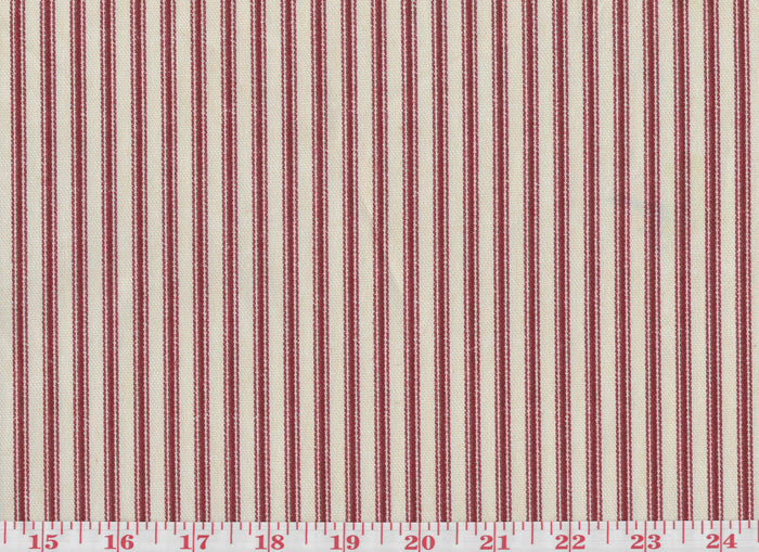 Timeless Ticking CL Crimson Upholstery Fabric by Waverly