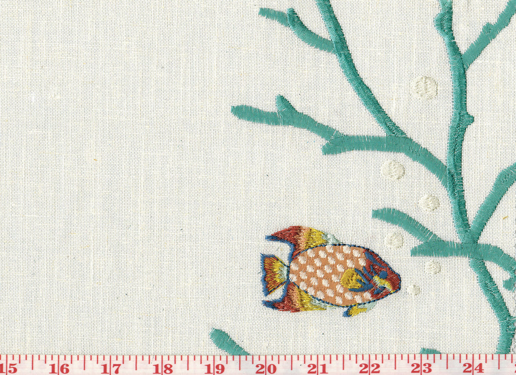 Friends of Nemo CL Aqua Embroidered Drapery Fabric by Golding Fabrics