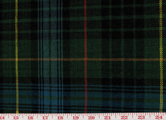 Hamilton Plaid CL Green - Blue Tartan Wool Upholstery Fabric by Roth Fabric