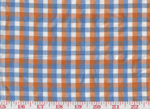 Annis Check CL Canton Orange Silk Drapery Upholstery Fabric by Hill Brown