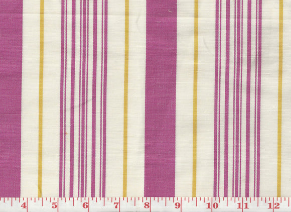 Annabel Stripe CL Rani Pink Drapery Upholstery Fabric by Hill Brown