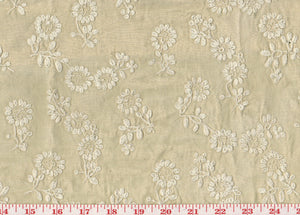 Intricate Embroidered Floral CL Tan - Ivory Drapery Fabric by Roth Fabric