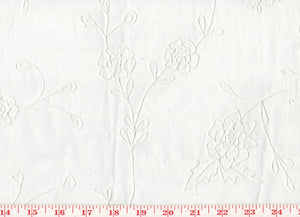 Delicate Embroidered Floral Organdy Sheer CL White on White Drapery Fabric by Roth Fabric