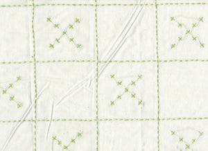 Checkerboard Embroidered X's CL Green  Drapery Fabric by Roth Fabric