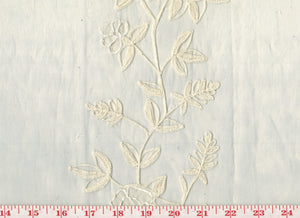 Embroidered Floral Stripes on Organdy CL Ivory Sheer Drapery Fabric by Roth Fabric