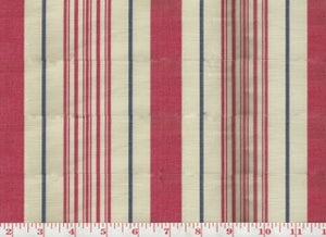 Annabel Stripe CL Red - Navy Upholstery Fabric by Hill Brown