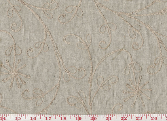 Floral Embroidery on Linen CL Khaki Drapery Fabric by Roth Fabrics