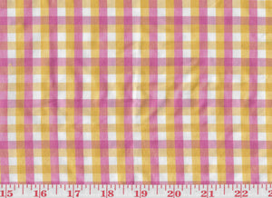 Annis Check CL Yellow Pink Silk Drapery Upholstery Fabric by Hill Brown