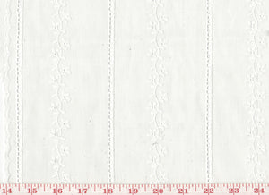 Scallop Edged Embroidered Eyelet Striped Sheer CL White Drapery Fabric by Roth Fabric