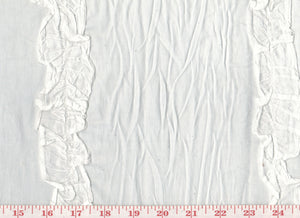 Ruffled Semi Sheer Cotton  CL White Drapery Fabric by Roth Fabric