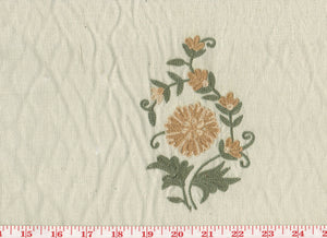Beatrice Floral Bouquets CL Brown - Sage Embroidered Drapery Fabric by Roth Fabric