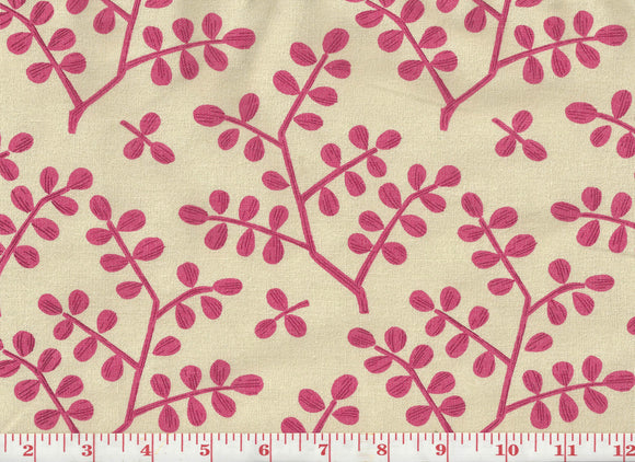 Leafy Branch CL Fuchsia on Natural Drapery Upholstery Fabric by Laura & Kiran