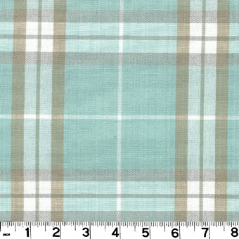 Harrison Plaid CL Seaglass Upholstery Fabric by Roth & Tompkins