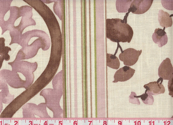 Bloom Stripe CL Amethyst Drapery Fabric by Braemore Textiles