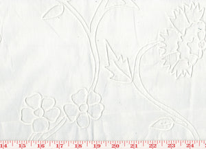 Embroidered Large Floral Organdy Sheer CL White on White Drapery Fabric by Roth Fabric