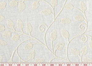 Blessing CL Eggshell Embroidered Sheer Drapery Fabric by Braemore Textiles