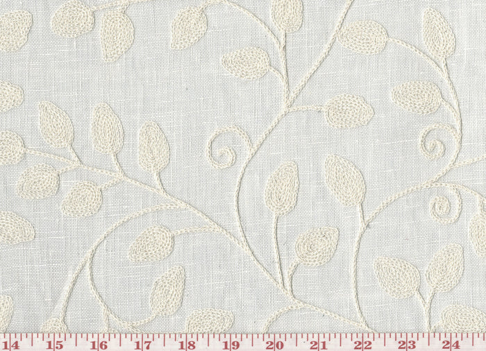 Blessings CL Eggshell Embroidered Sheer Drapery Fabric by Braemore Textiles