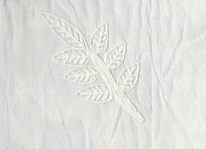 Leaf Motif CL Ivory on Ivory Embroidered Organdy Sheer Drapery Fabric by Roth Fabric