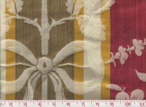 Anjou Damask Stripe CL Brown - Gold Upholstery Fabric by Hill Brown