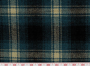 Graham Plaid CL Blue - Black Tartan Wool Upholstery Fabric by Roth Fabric
