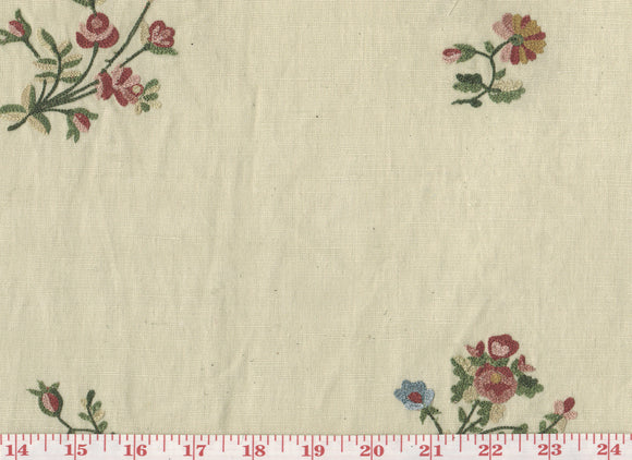 Crewel Floral Sprigs CL Multi on Beige Embroidered Drapery Fabric by Roth Fabric