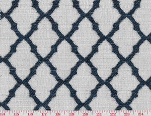 Midway CL Navy - White Drapery Upholstery Fabric by Golding Fabrics