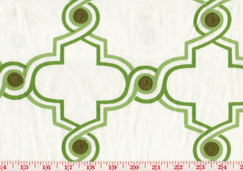 Dinah CL Mint Embroidered Upholstery Fabric by Diversitex